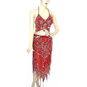 Red Belly Dancing Costume Dress BCB Image