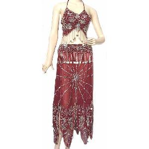 Maroon Belly Dancing Costume Dress BBA Image