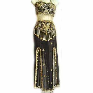 Gold Embroidery Belly Dancer Dress Black Dress C Image