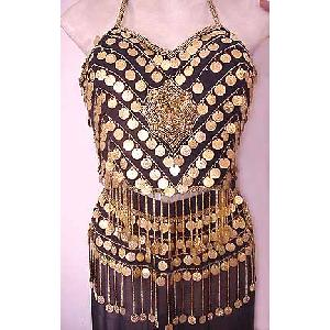 Gold Embroidery Belly Dancer Dress Black Dress X Image