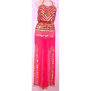 Gold Embroidery Belly Dance Dress Red Dress X1 Image