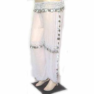 Belly Dancer Harem Pant White B Silver Image